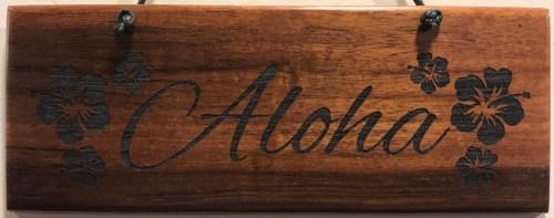 "'Aloha' Small Hanging Koa Plaque 2.75""x 7"" (representative) by Honolulu Woodworking Designs $24"