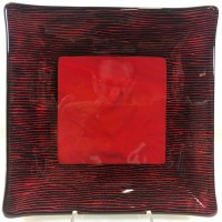 """Black & Red Square Dish Fused Glass by Kathryn Farley 7.75""""x 7.75"""" $65"""