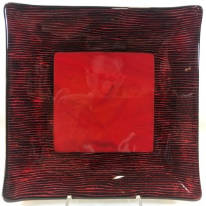 "Black & Red Square Dish Fused Glass by Kathryn Farley 7.75""x 7.75"" $65"