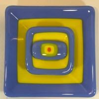 """Blue Yellow Green Orange Set of Three Fused Glass by Kathryn Farley 6""""x 6"""" $55"""