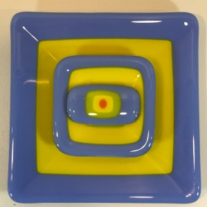 "Blue Yellow Green Orange Set of Three Fused Glass by Kathryn Farley 6""x 6"" $55"