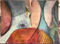 """'Down the Drain' Original Watercolor by Anne Irons 22""""x 30"""" $980"""