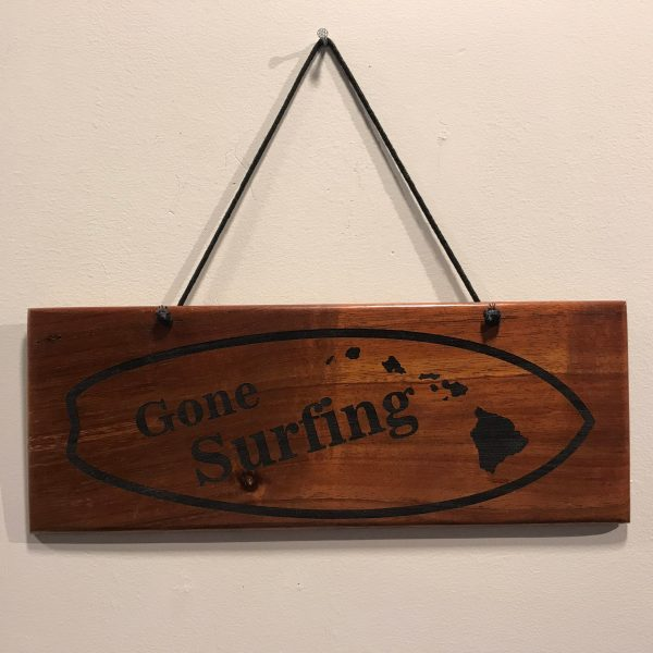 "'Gone Surfing' Large Hanging Koa Plaque 4""x 11"" (representative) by Honolulu Woodworking Designs $36"
