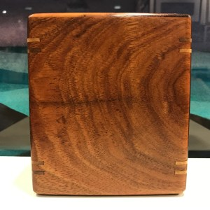 "Medium Small Koa Urn with Splines by Honolulu Woodworks 5 1/4""H x 4 5/8""W x 3 5/8""D interior 4.75""x 4""x 3"" Capacity 57lbs $225"