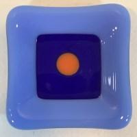 "'Periwinkle Blue & Orange Dish' Fused Glass by Kathryn Farley 2.25""x 2.25"" $14"