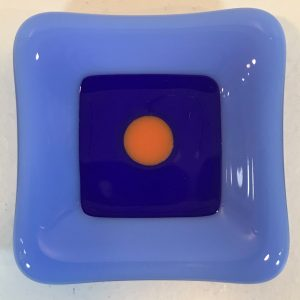 "'Periwinkle Blue & Orange Dish' Fused Glass by Kathryn Farley 2.25""x 2.25"" $14"