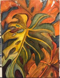 "'Pumpkin Monstera' Original Watercolor by Anne Irons 30""x 22"" $980"