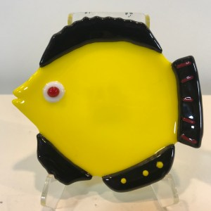 "Yellow & Black Fish Dish Fused Glass by Kathryn Farley 4.5""x 4.25"" $44"