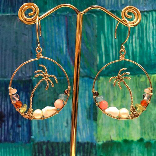 'Palm Hoop Earrings' with Chalcedony Amethyst Carnelian Peridot Pearl Shell Coral Amazonite Garnet by Leinai'a $98