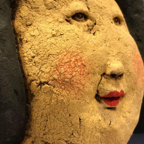 "'Wisdom & Her Trusty Companion Grace' Stoneware Sculpture by Jo Rowley; Wisdom 15.5""H x 7""W x 5.5""D; Grace 8.75""H x 4""W x 5""D $2200 pair"
