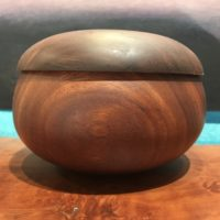 "Lidded Kamani Umeke by Gordon Tang 4""H x 6""D $325"