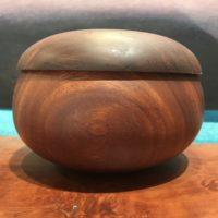 "Lidded Kamani Umeke by Gordon Tang 4""H x 6""D $325"