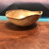 "Natural Edge Ash Bowl by Andy Cole 4""H x 9.5""L x 9""W $240"