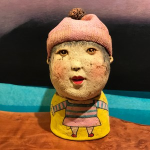 "Girl in Pink Hat Stoneware Sculpture by Jo Rowley 7""H x 3.5""W x 4.5""D $300"