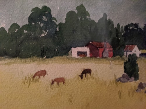 "'Upcountry' Watercolor by Rosalie Prussing, Image size: 14"" x 11"", Framed size: 21"" x 17"" $795"