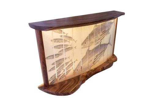 "'Otaru Rush' Monkeypod Hall Table by Dave Gagnon; Aku & Otaru Gyotaku by Naoki 33""H x 53""W x 13.5""D $6500"