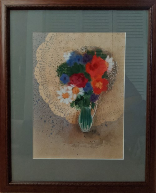 """'Spring Bouquet' Watercolor by Rosalie Prussing, Image size: 10.5"""" x 14.5"""", Framed size: 19"""" x 22.75"""" $895"""