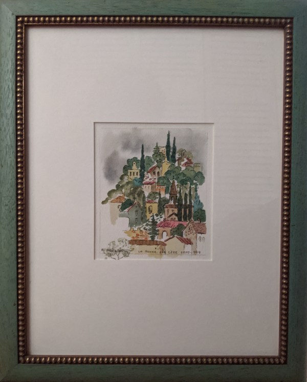 "'Travels to Italy' Watercolor and pen by Rosalie Prussing, Image size: 6"" x 7"", Framed size: 13.25"" x 16.25"" $495"