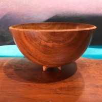 "Mahogany Footed Bowl w Pewa by Rob Hale 5""H x 8.5""D $240"