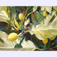 "'Breadfruit Shadow' Original painting by Fabienne Blanc framed 28""x 33"" image size 20""x 25"" $2250"