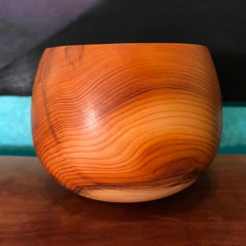 """English Yew Bowl by Gordon Tang 3""""H x 4""""D $145"""