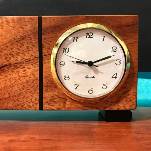 "Koa Clock 4""H x 12""W x 2""D by John Berthiaume $120"