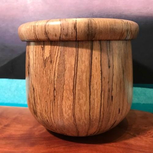 "Norfolk Pine Lidded Calabash 5""H x 5.5""D by Kyle Iwamoto $250"