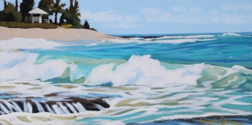 'On the Rocks' Original Acrylic Painting on Cradled Wood 6x12 by Brenda Cablayan $490