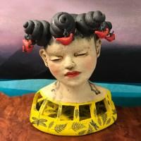 "Daydreamer in the Garden Stoneware Sculpture 10""H x 9""W x 7""D by Jo Rowley $1200"