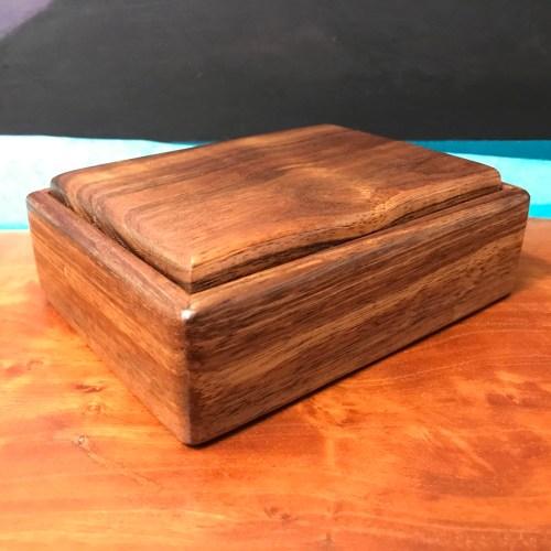 "Koa Flip Top Box 6""L x 4.25""W x 2""H by Honolulu Woodworks $100"