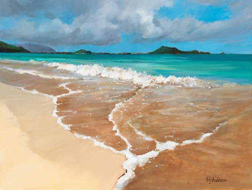 """'Suds on Sand' Original Oil Painting 24""""x 32"""" framed by Susie Anderson $3500"""