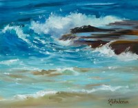 """'Surf and Turf' Original Oil Painting 17""""x 20"""" framed by Susie Anderson $1100"""