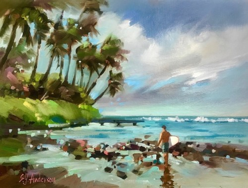 """'Threading the Reef' Original Oil Painting 18.5""""x 22.5"""" framed by Susie Anderson $1300"""