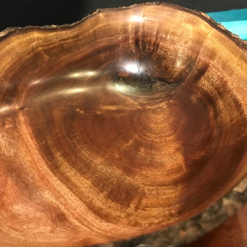 """Natural Edge Tropical Almond Bowl 3""""H x 9""""D by Andy Cole $275"""