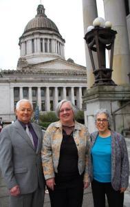 Commissioner Kreidler, Julie Drake, and Janet Varon at the Capitol