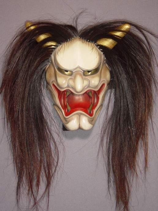 Folk mask IwamiHannya with hair