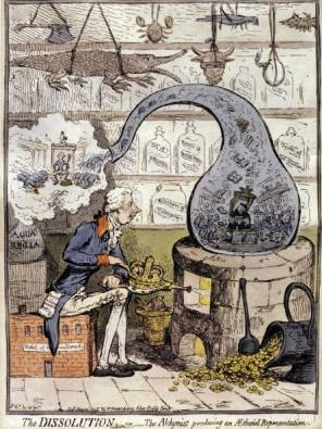 Illustrazione raffigurante un Alchimista a lavoro.
