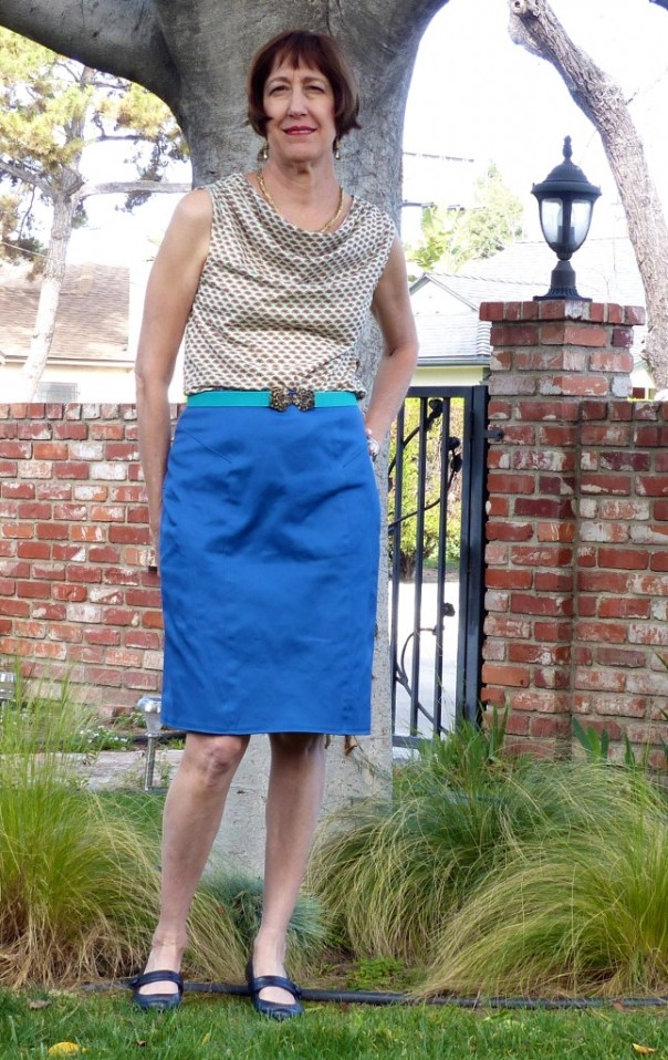 skirt and cowl neck t-shirt