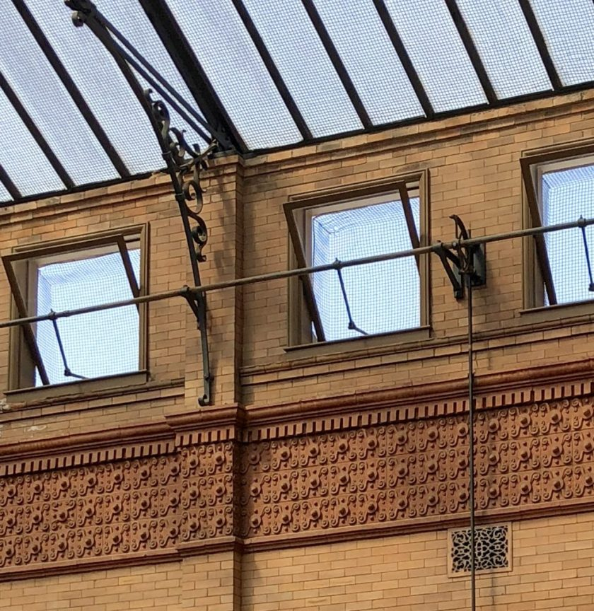 Details of tiles only seen from the top floor of The Bradbury building.