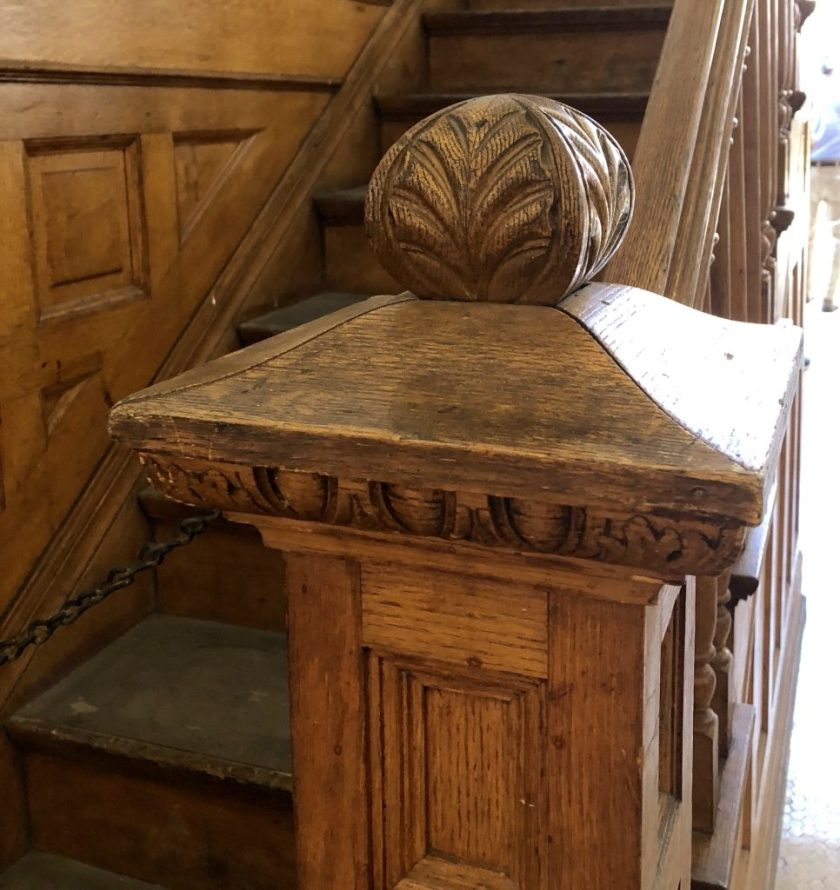 Beautiful woodwork, newel post, staircase, The Bradbury building