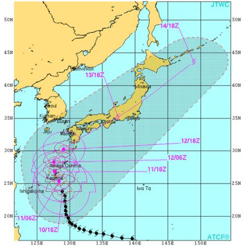 米軍台風19号進路予想10月11日