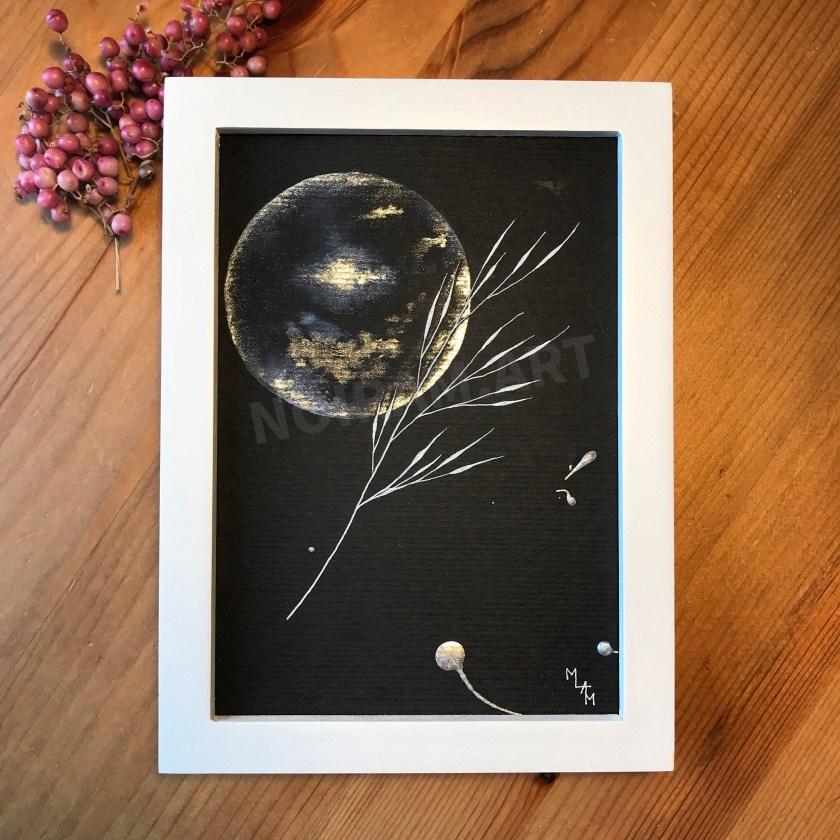 Aquarelle papier noir apesenteur mlam noiram marion-lorraine poncet planète plante