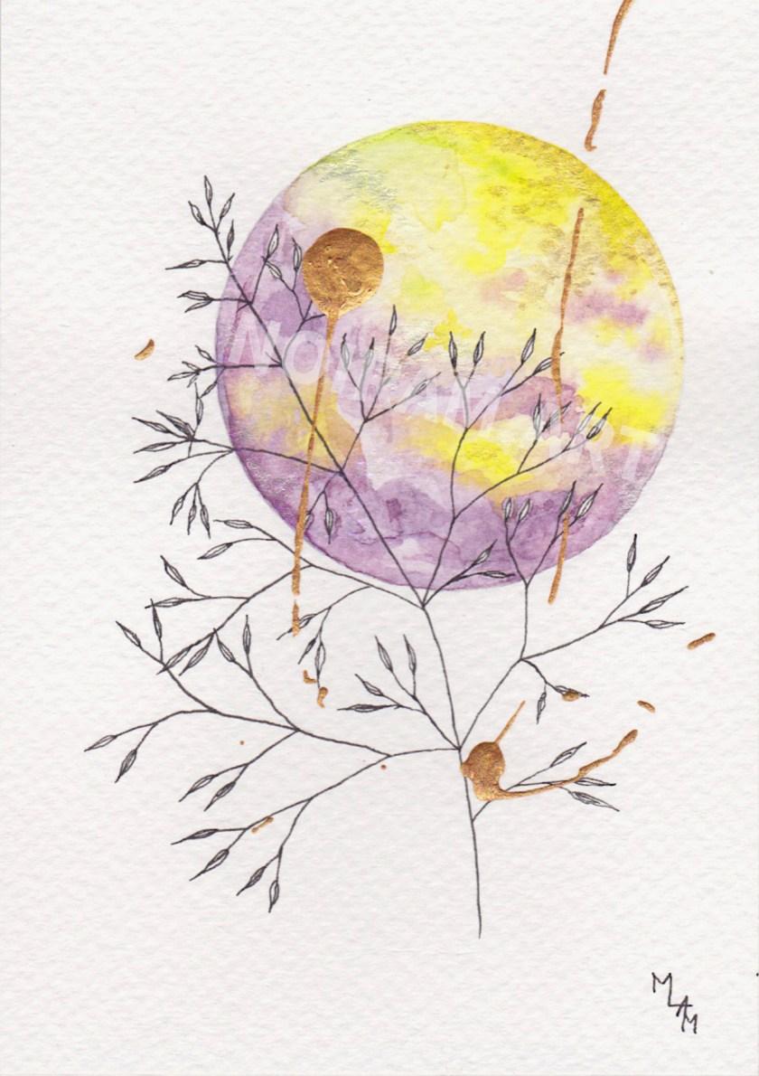 Aquarelle Europe jaune violet mlam noiram marion-lorraine poncet planète plante