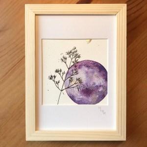 Aquarelle neptune violet planète plante mlam noiram marion-lorraine poncet