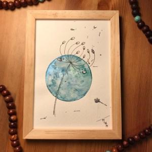 Aquarelle Artemis métalissé bleu mlam noiram marion-lorraine poncet planète plante