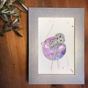 Aquarelle l'orbite de la chouette mlam noiram marion-lorraine poncet planète plante