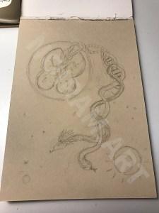 Croquis noiram mlam poncet jumeau serpent cosmique adn cosmos échelle