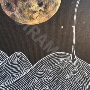 la fuite de l'esprit laboure lune champ nuit graminée marion-lorraine poncet mlam noiram aquarelle