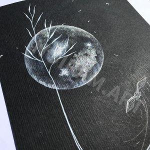 orfraie chouette effraie laboure lune champ nuit graminée marion-lorraine poncet mlam noiram aquarelle