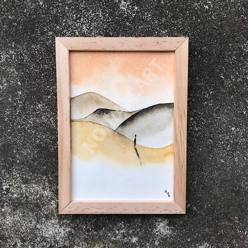 paysage dune montagne horizon personnage réflexion marion-lorraine poncet mlam noiram aquarelle